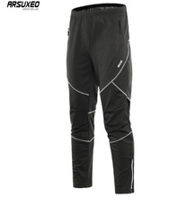 ARSUXEO Men's Winter Warm Up Thermal Fleece pants Multi Sports BicycleTrousers Riding Running Bike Cycling Pants Windproof недорого