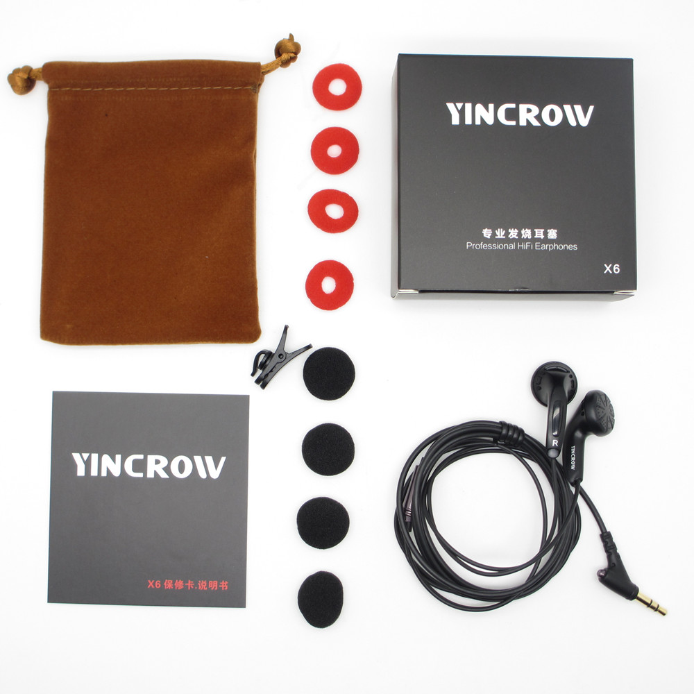 100% Original YINCROW X6 3.5mm In-ear Earphones flat head earbuds professional fever HIFI Earphone PK PK1 MX985 without Mic