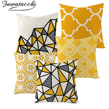 Fuwatacchi Geometric Cushion Cover Arrow Diamond Pillow Cover for Home Chair Sofa Decorative Pillows Yellow Linen Throw Pillows цены