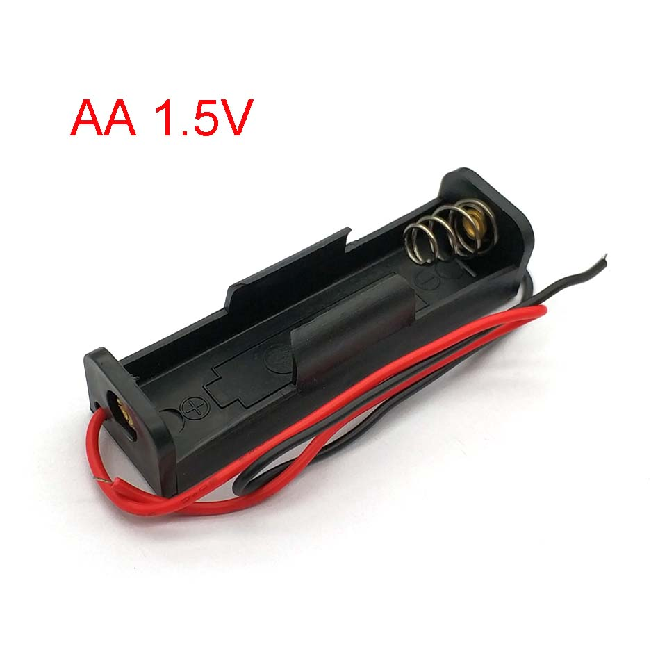 New Plastic AA Battery Case Holder Storage Box With Wire Leads For AA Batteries 1.5V Black