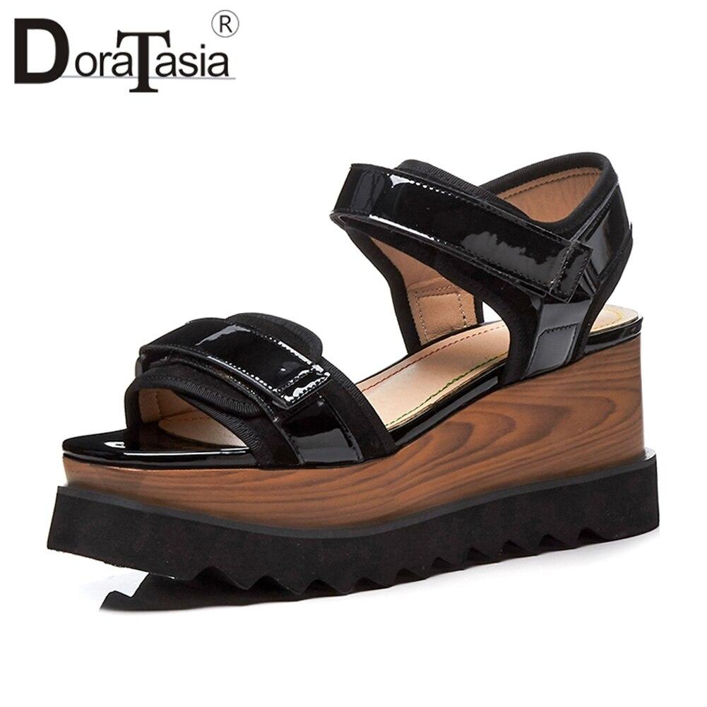 DoraTasia 2018 Summer Fashion Wood Platform Patent Leather Sandals Women Big Size 33-41 Wedges Casual Shoes Woman bohemia plus size 34 41 new fashion wedges sandals slip on elastic band casual platform shoes woman summer lady shoes shallow