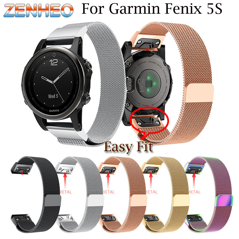 Milanese Loop band For Garmin Fenix 5S Watch strap Quick Release Stainless Steel Link Bracelet watchband For Garmin Fenix 5S stainless steel watch band 26mm for garmin fenix 3 hr butterfly clasp strap wrist loop belt bracelet silver spring bar