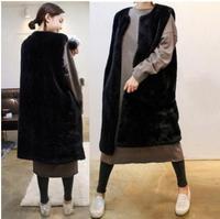 Womesn Long Section Black Faux Imitation Rabbit Fur Vest Coats V Neck Casual Female Plus Size Fake Fur Waistcoats Vests J2386