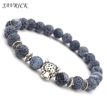 New Fashion Women Beaded Bracelet Weathered Silver Color Leopard Head Transfer Beads Bracelets Jewelry Holiday Gifts