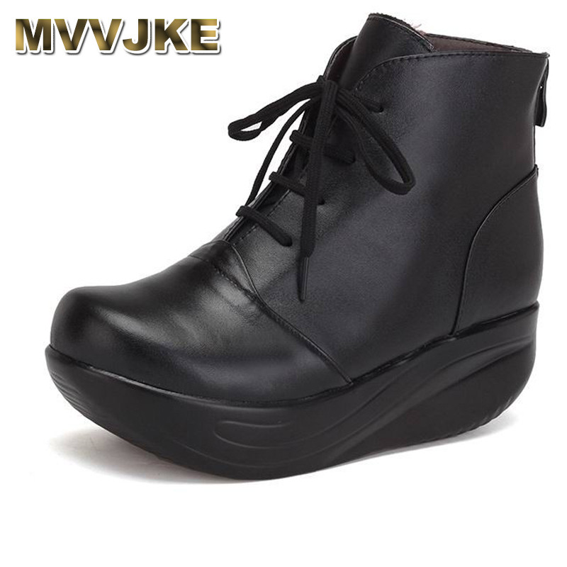 MVVJKE New Arrivals Women Snow Boots Platform Genuine Leather Winter Women's Shoes Lace Up Fur Boots Black Warm Ankle Boots 2017 new fashion genuine leather snow boots female winter platform ankle boots women zipper lace up boots