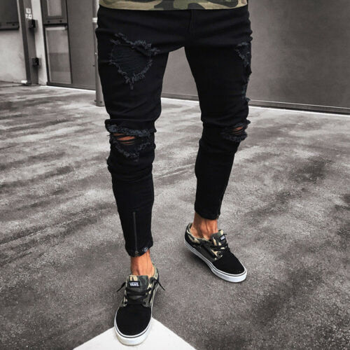 Men's Slim Fit   Jeans   Black Stretch Destroyed Ripped Skinny Denim Men's Skinny   Jeans   Men's Stretchy Knee Holes Tapered Leg   Jeans