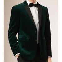 Mens Velvet Blazers suits Custom Made Slim Fit Dark Green Velvet Jacket Tailored wedding Blazers For Men Velvet Suit Jacket