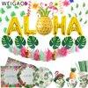 Fiesta hawaiana Aloha globos de papel de aluminio Banner Tropical de verano la placa de papel del Partido Copa servilletas fiesta de cumpleaños Luau fiesta decoración para chico