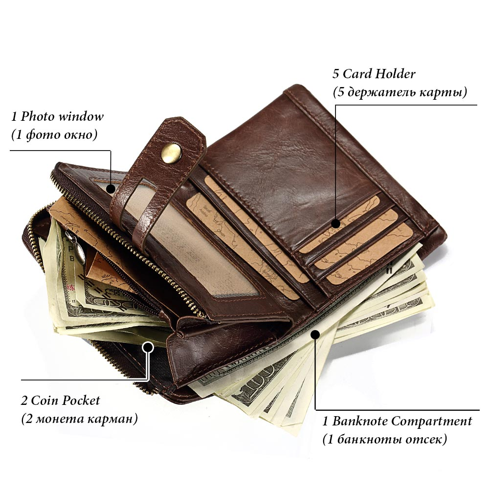 KAVIS Brand Cow Genuine Leather Wallet Men PORTFOLIO MAN Male Small Portomonee Vallet With Coin Purse Male Cuzdan Small Walet