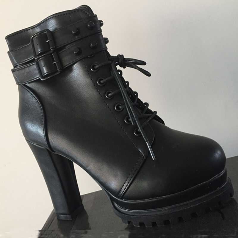5a0b823086ad5 Autumn Spring Womens Ankle Boots Casual High Heels Motorcycle Boot Lace Up  Shoes Lady Heel 10cm aa0502