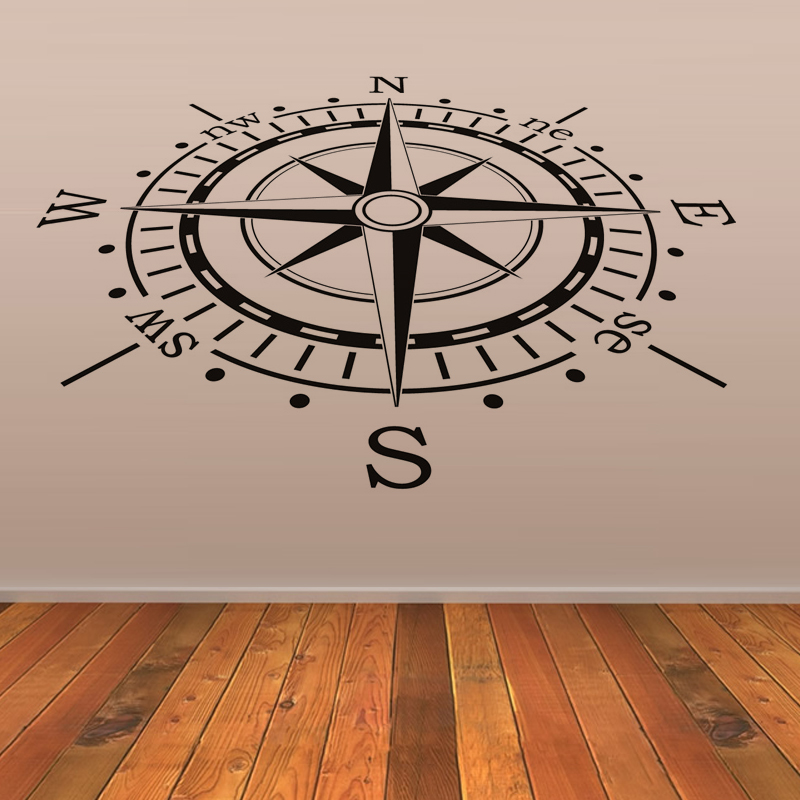 Compass Wall Sticker Creative Home Decor Living Room Decorative Vinyl Waterproof House Decor