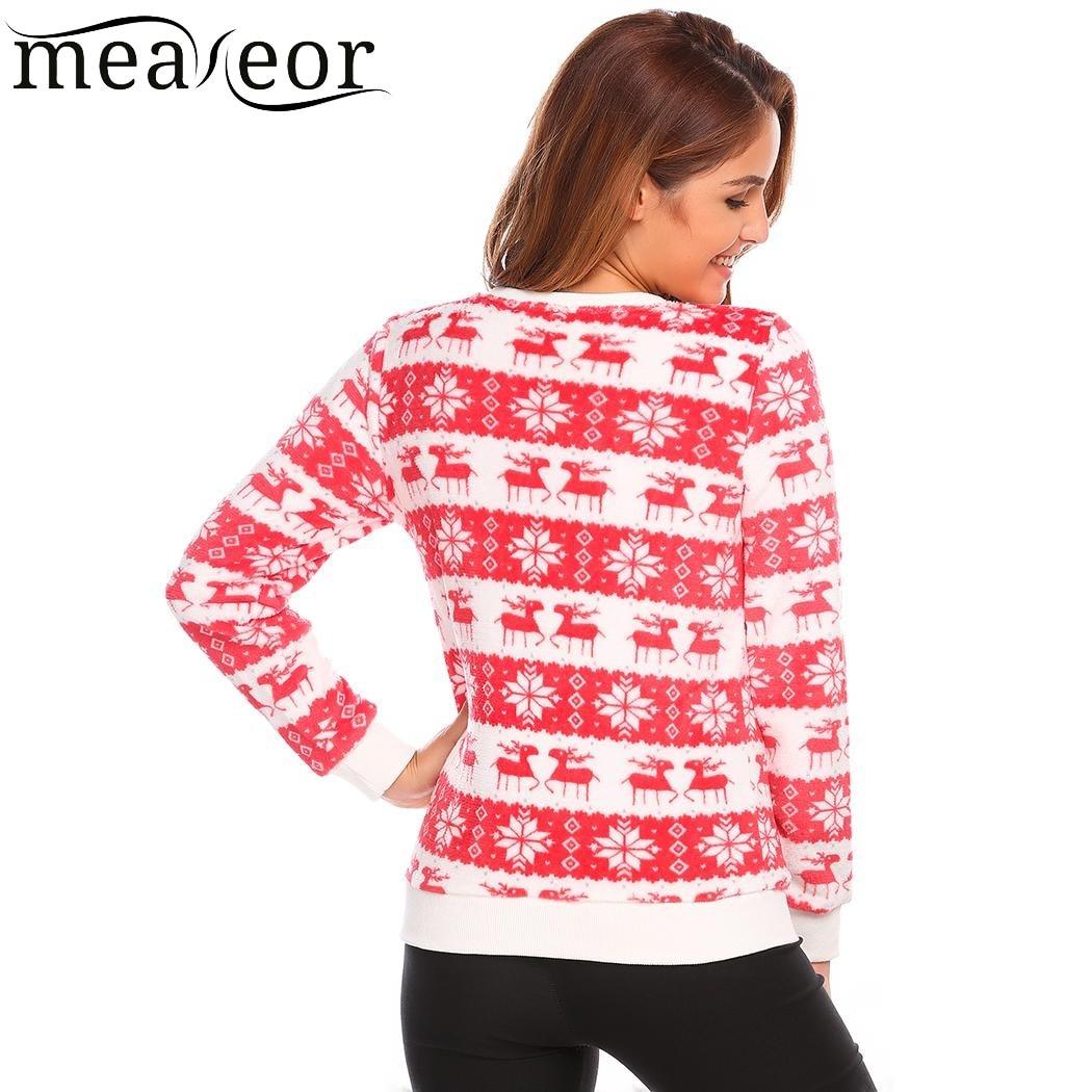 Meaneor Women 2017 New Fall Christmas Sweatshit O-Neck Long Sleeve Deer Print Patchwork Fleece Casual Pullover Sweatshirts Tops