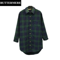 BUTTERMERE 4XL Big Size Green Blouse Autumn Long Pocket Checkered Plaid Shirt Elegant Designer Long Sleeve