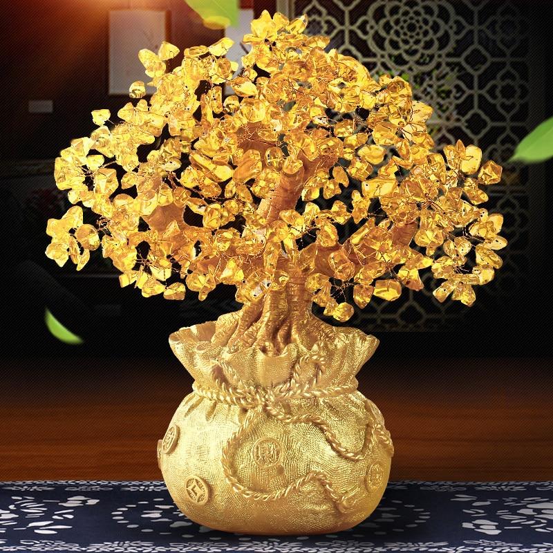 obývací pokoj štěstí - Home Decoration Furnishing Resin Crystal DIY Money Tree Ornament Store Office Livingroom Lucky Figurines Crafts Art Wedding Gift