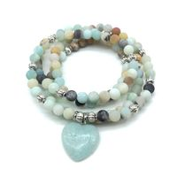 Fashion Women S Matte Frosted Amazonite 108 Mala Beads Bracelet Or Necklace High Quality Matching Heart