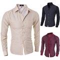 2015 новый бренд горошек лоскутная мода 6 цвет мужские рубашки с длинным рукавом slim-подходят свободного покроя социальный Camisas Masculinas M-XXL