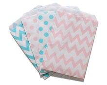 500pcs Party Favor Bag Boy Light Blue and Girl Pink Polka Dot Chevron Paper Bags Gender Reveal Baby Shower