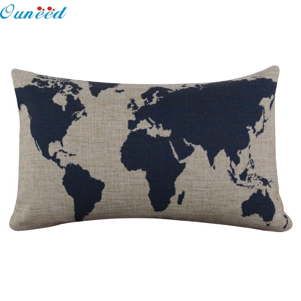 Ouneed Lovely pet hot selling Burlap Linen Dark Blue World Map Decorative Pillow Case Jun27(China)