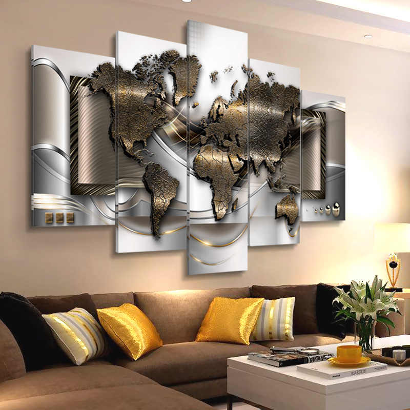Modern Wall Canvas Painting Pictures 5 Panels World Map Posters Abstract Worldmap Print for Living Room Office Wall Decoration