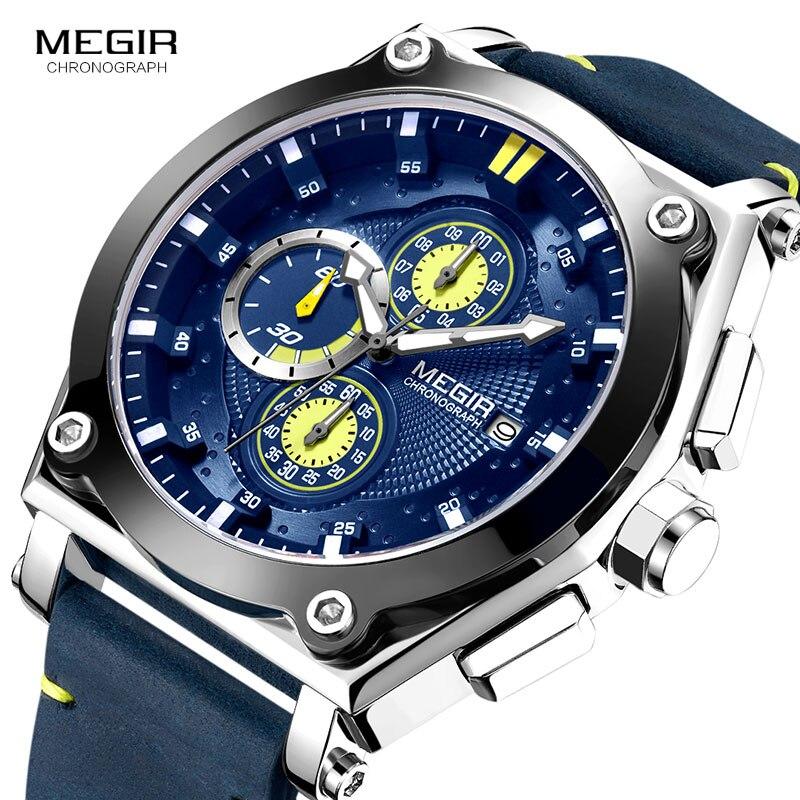 Megir Men's Leather Strap Quartz Watches Army Sports Chronograph Waterproof Wristwatch for Man Luminous Relogios Clock 2098 Blue все цены