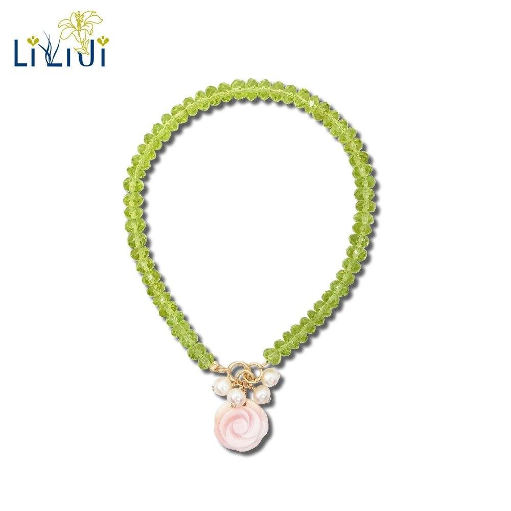 цена Lii Ji Natural Gemstone Shining Peridot,Freshwater Pearl,Pink Conch Shell Rose 925 Sterling Silver 18K Gold Plated Bracelet