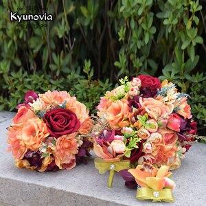 Image 5 - Kyunovia Silk Wedding Flower Dahlia Bouquet Wild Flowers Bridesmaid Bouquets Roses Orange Accents 3PCs SET Bridal Bouquet FE82