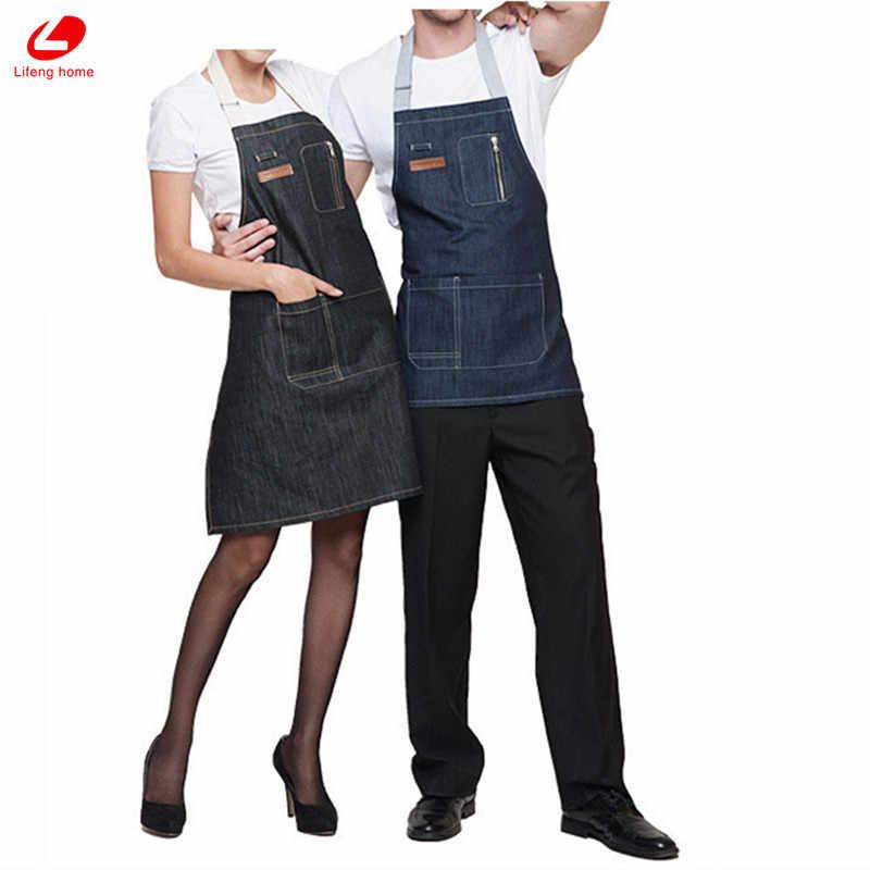 ليفينج هوم فوطة دينيم جينز مثير مريلة مطبخ بجيب كوكينج تنظيف امرأة ورجل مآزر حزام باريستا حلاق أسود أزرق المئزر