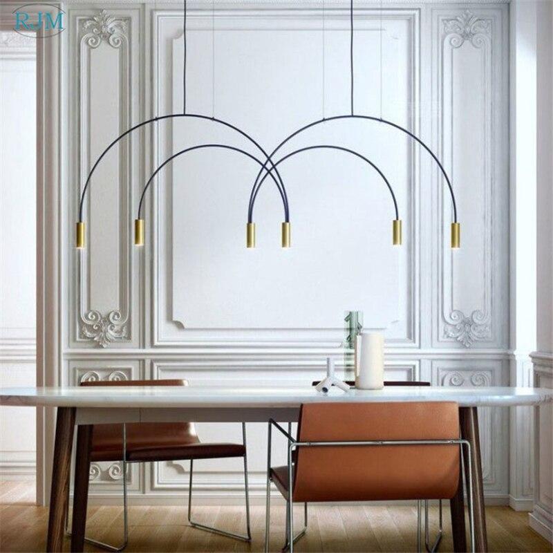 Nordique personnalité créative lustre Designer postmoderne arche accrocher lampes Restaurant salon chambre café étude éclairage