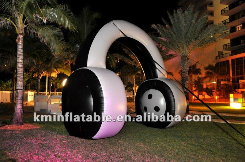 4m high giant inflatable headphones replicas for advertising display large inflatable headset music events decoration use giant inflatable balloon for decoration and advertisements