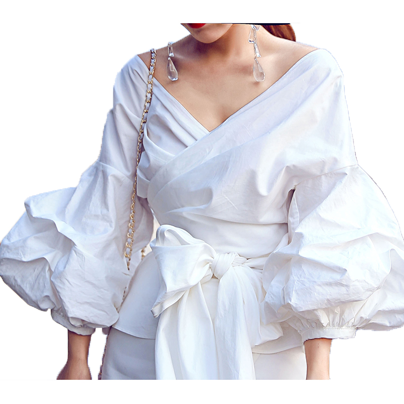 גבוהה איכות אופנה החדש 2017 חולצה מעצב חולצת חולצה מקרית שרוול פנס של נשים לשרוך קשת חגורה