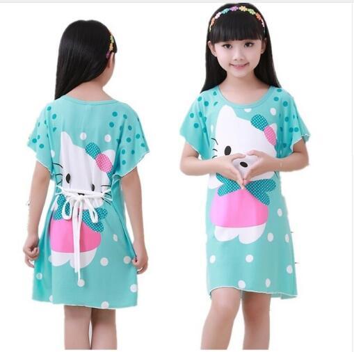 KüHn 3 Farben Baby Mädchen Tier Druck Milch Seide Nachthemden Kinder Kurzarm Drucken Cartoon Nacht Kleid Kinder Kleider Baby Kleidung