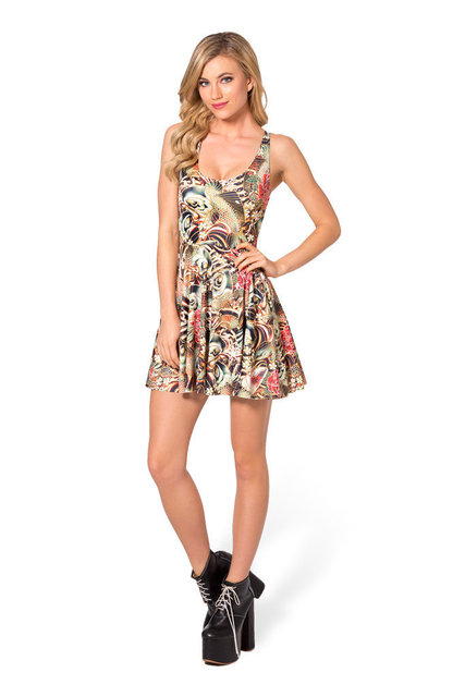 4cfa78db7 Drop Ship Fashion Women Digital Print Gloden Floral SKATER DRESS Vestidos  Roupas Femininas Saias