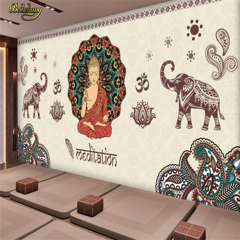 Beibehang Kustom Thai India Buddha Mural 3D Kertas Dinding Foto Wallpaper Foto untuk Dinding 3 D Living Room Latar Belakang Rumah dekorasi