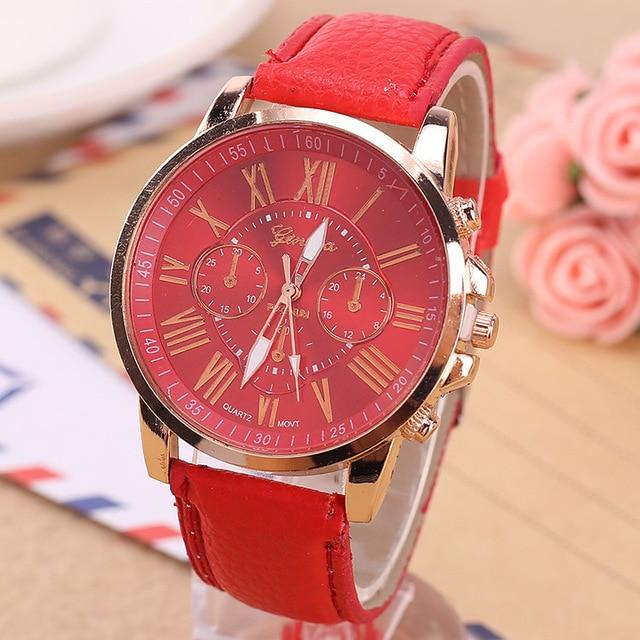 New Geneva Watch Fashionable Brilliant Net Red Two-eyed Roman Leather Quartz Watch Ladies Leisure Fashion Watch