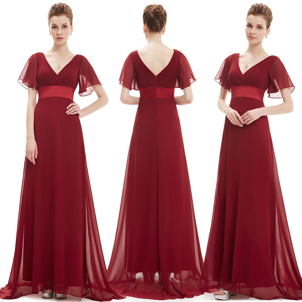 Image 3 - Ever Pretty Women Elegant Evening Dresses Long Burgundy Sexy A Line Sleeveless V Neck Long Backless Chiffon Party Evening Gowns-in Evening Dresses from Weddings & Events
