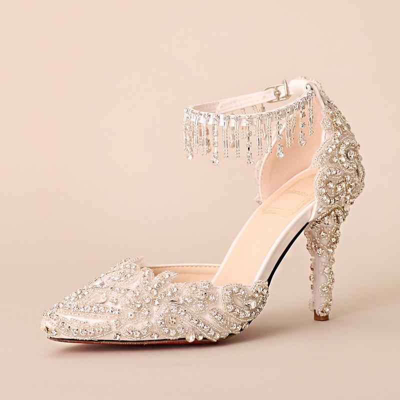 Femenino Alto De Brillante Zapatos Borla Pulsera Diamante Exquisito Encaje Boda Cristal Verano Novia Mujer Sandalias Tacón Perlas 0ddawq