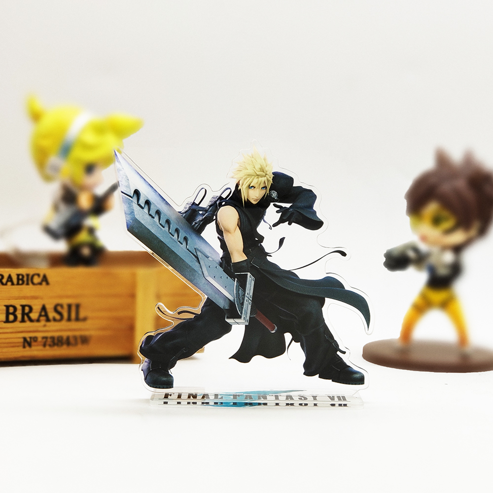 Love Thank You Final Fantasy VII 7 Cloud Strife Acrylic Stand Figure Model Plate Holder Cake Topper Anime Japanese Cool