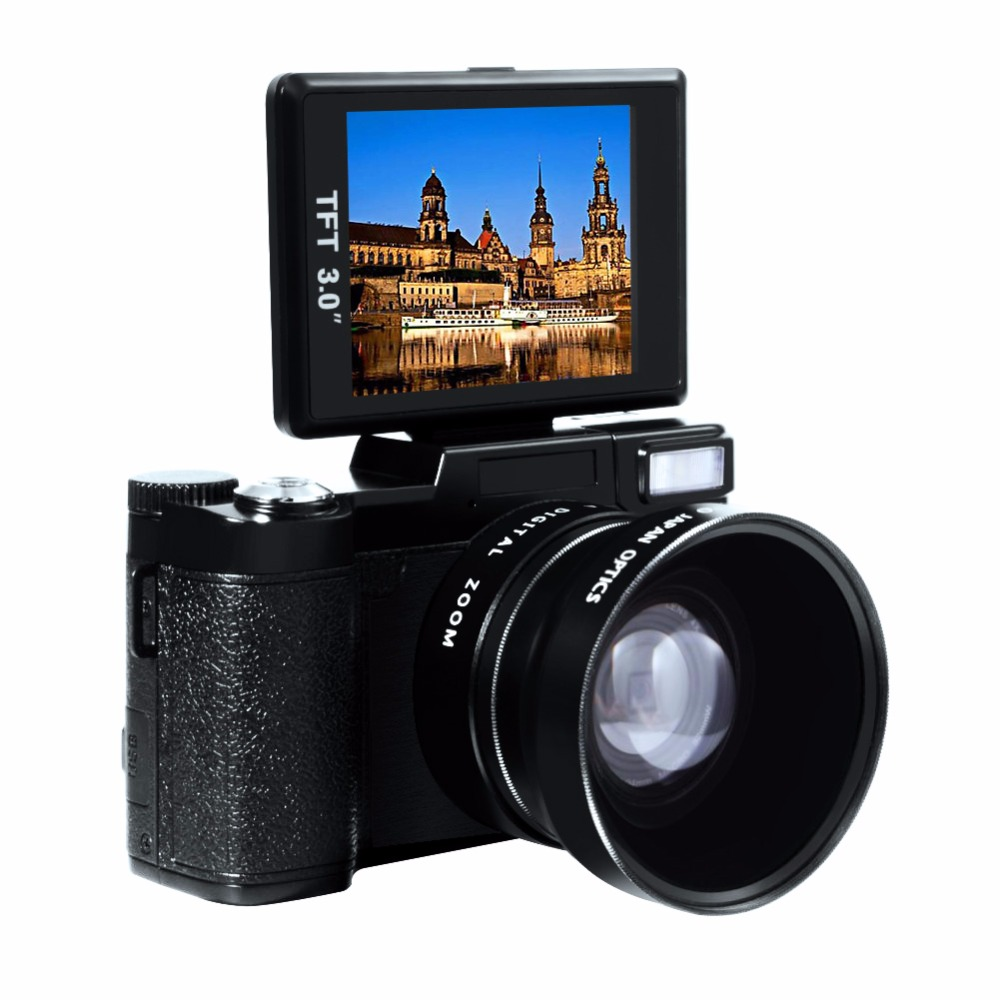 24MP HD Professional Digital Photo Cameras Camcorder Teleconverter and Close-up Lens Camera 3.0 inch Rotation Screen
