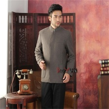 2017 New Arrival Brown Chinese Traditional Men's Jacket Striped Wool Coat Middle-aged Chinese tunic suit S M L XL XXL XXXL