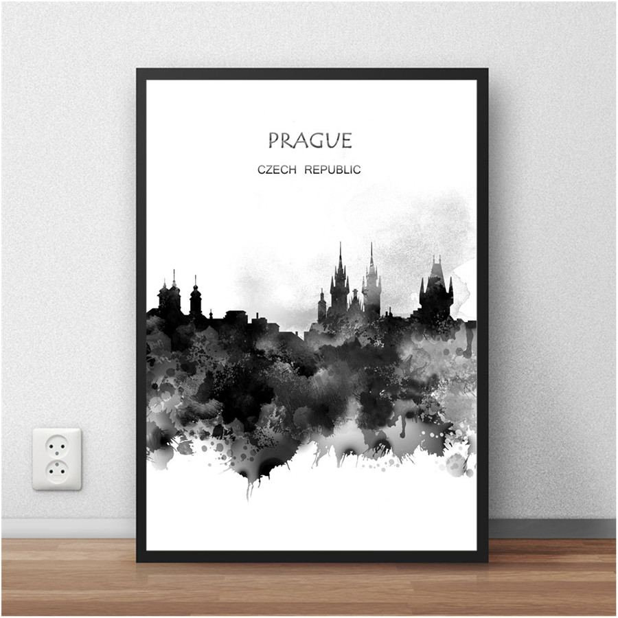 The World City Wall Picture PRAGUE Czech Republic Abstract Poster Watercolor Painting Living Room Home Decor Cafe Bar 42x30cm