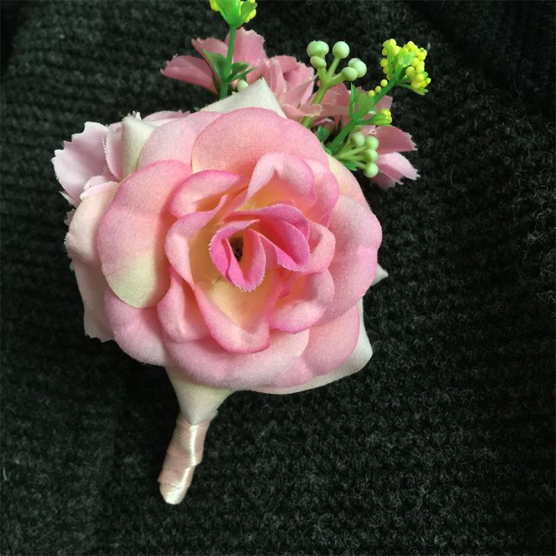 1 pieces pink groom boutonniere men corsage prom wedding flowers silk rose flowers wedding home party