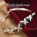 Свежие Оливковую Ветвь Идет!!! роуз Позолоченные Австрийский хрусталь Зеленый Бабочка Элемент Леди Браслет