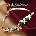 Fresh Olive Branch Coming!!! Rose Gold Plated Austrian Crystal Green Butterfly Element Lady Bracelet