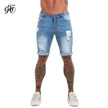 Mens Shorts Fitness Denim Shorts Black High Waist Ripped Summer Summer Jeans Sho