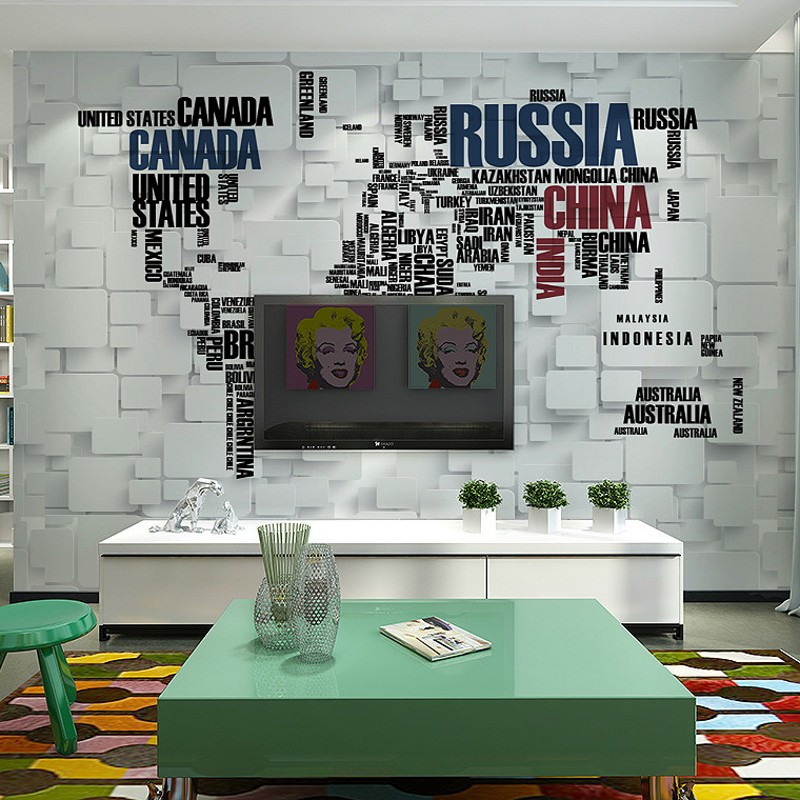 3d retro brick wall murals personalized wallpaper world map three 3d retro brick wall murals personalized wallpaper world map three dimensional letters living room tv background wallpaper in wallpapers from home gumiabroncs Choice Image