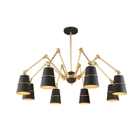 Modern Chandelier Lights 6 Light Black Or White Shades With Swaying Arms Led Chandelier Lamp For
