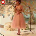 2015 Hot Selling V-neck Long Sleeves Gold Lace Appliques Tea-Length Ball Gown Sexy See Through Arabic Celebrity Dresses Orenda