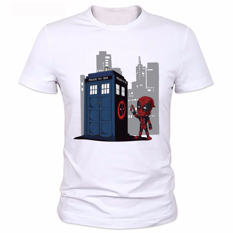 Anime characters die shi cartoon boy printed t-shirts die shi phone booth personality T-shirt A mans summer coat 1223#