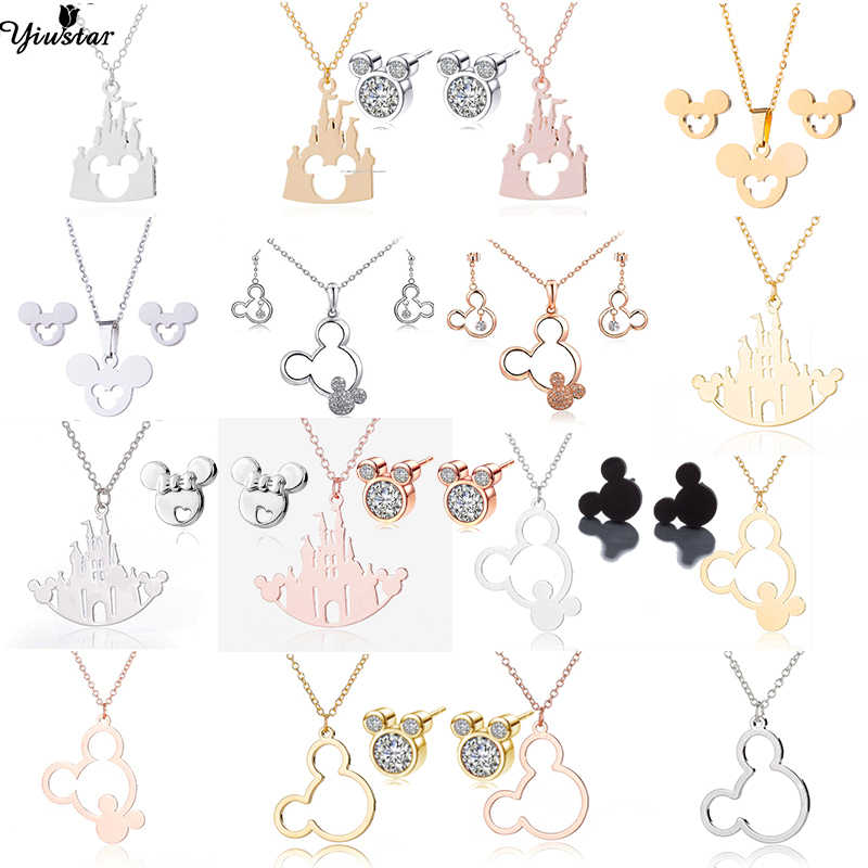 Yiustar Fashion Mickey Pendant Necklace Mouse Stud Earrings Cute Mickey Jewelry Sets for Women Stainless Steel Necklace/Earrings