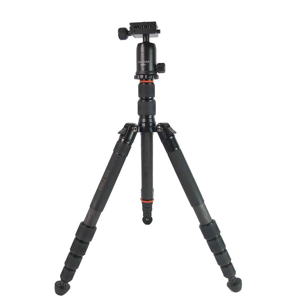 KOLIVAR K666C Professional Compact Lightweight Carbon Fiber Travel Tripod with Ball Head For Canon Nikon Sony Pentax DSLR Camera